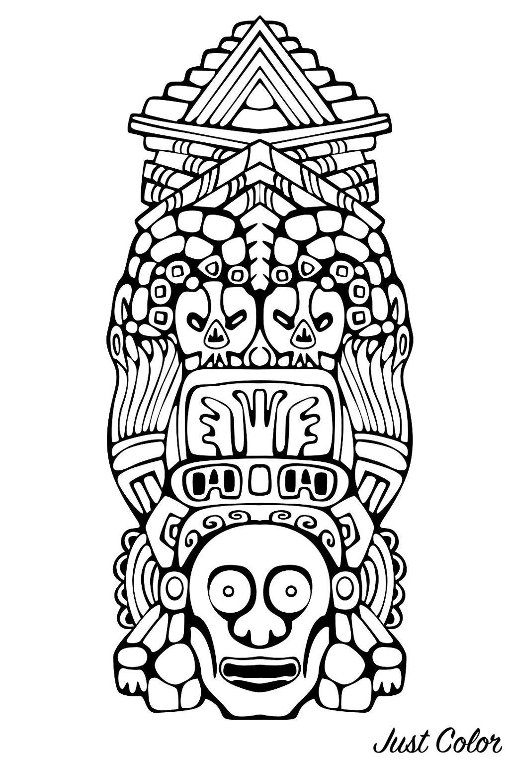 Disegni da colorare per adulti : Maya, Aztechi e Incas - 8