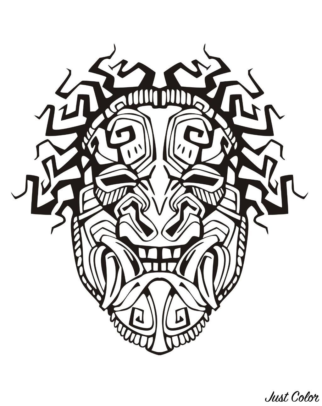 Disegni da colorare per adulti : Maya, Aztechi e Incas - 15