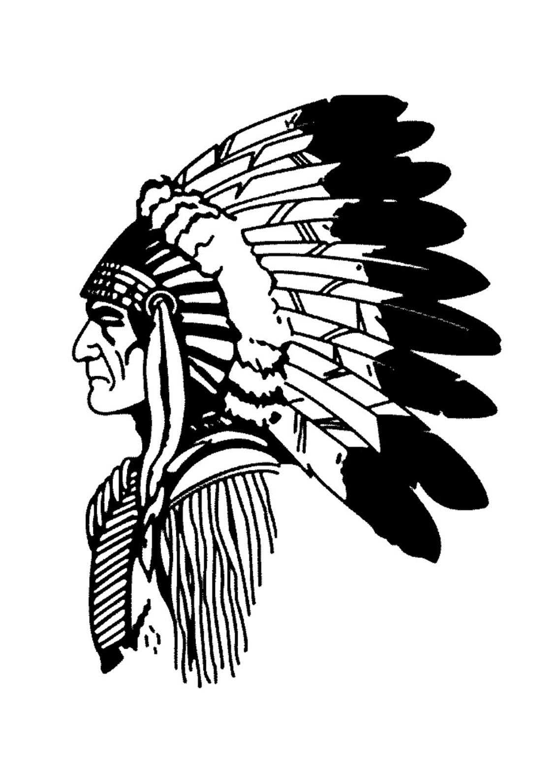 Disegni da colorare per adulti : Indiano dAmerica - 14