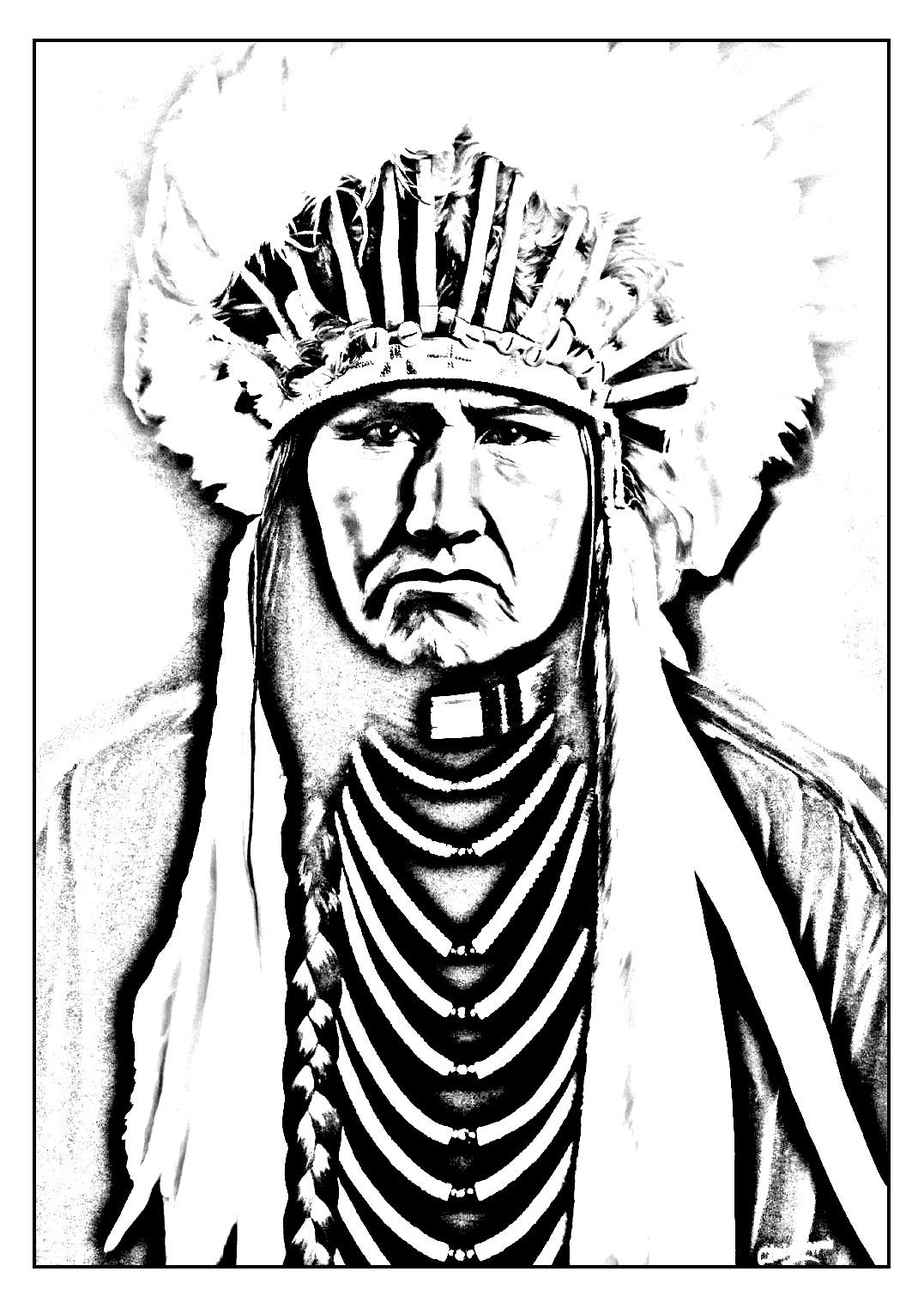 Disegni da colorare per adulti : Indiano dAmerica - 11