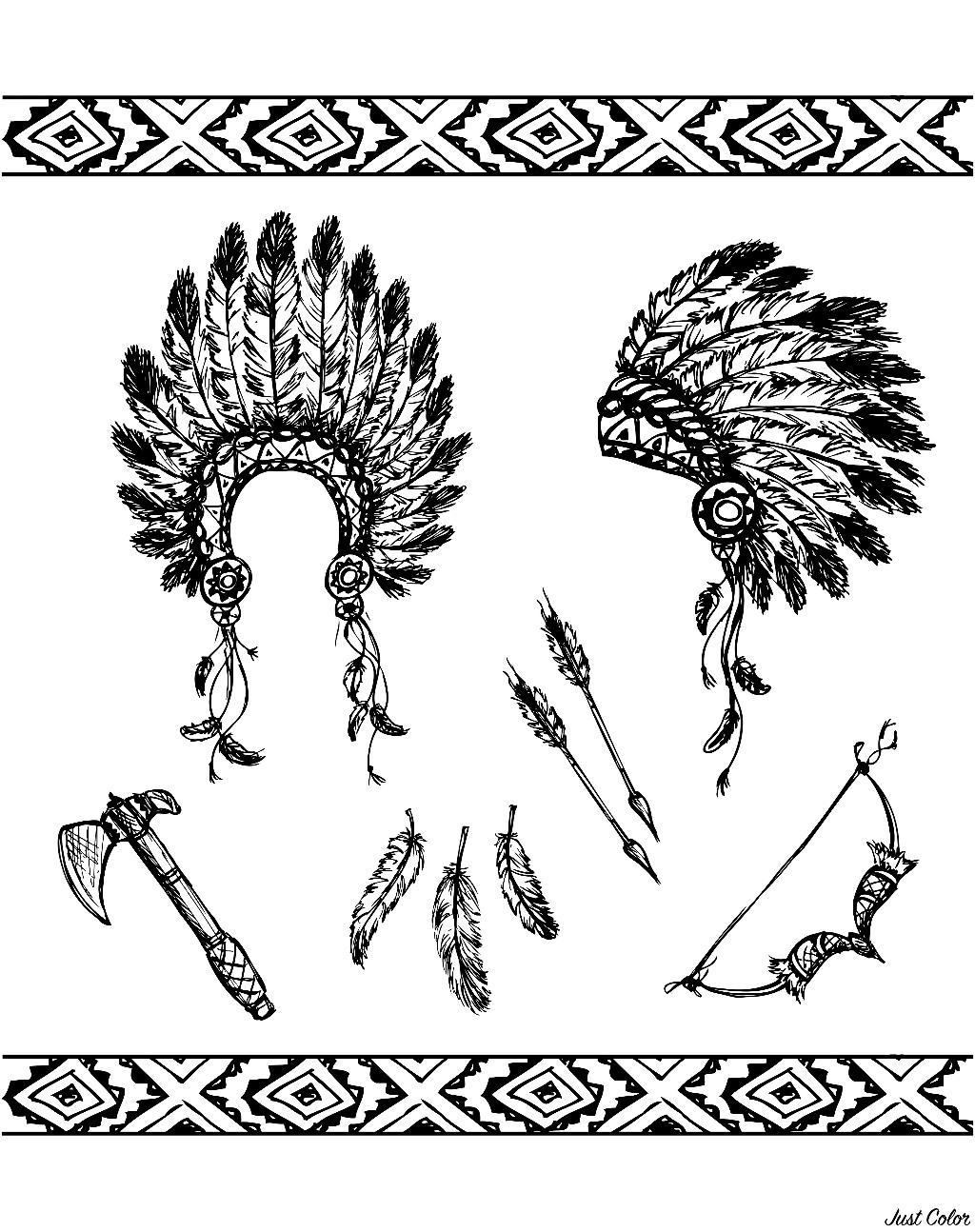 Disegni da colorare per adulti : Indiano dAmerica - 5