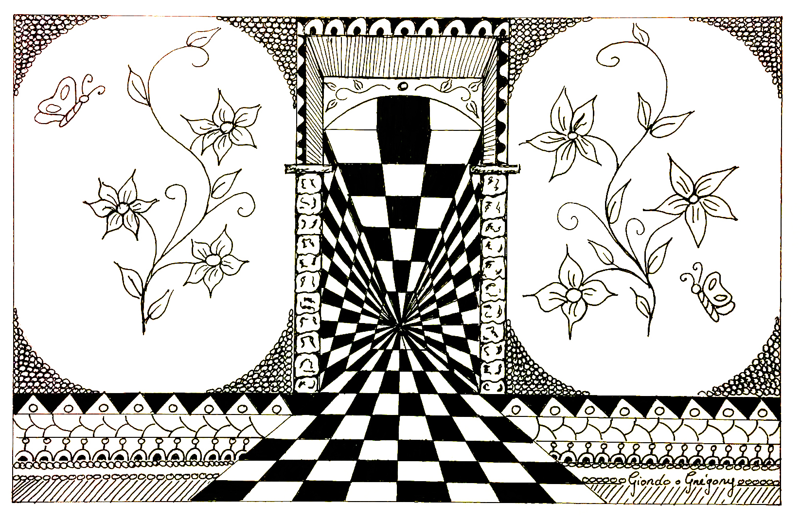 Disegni da colorare per adulti : Op Art - 27