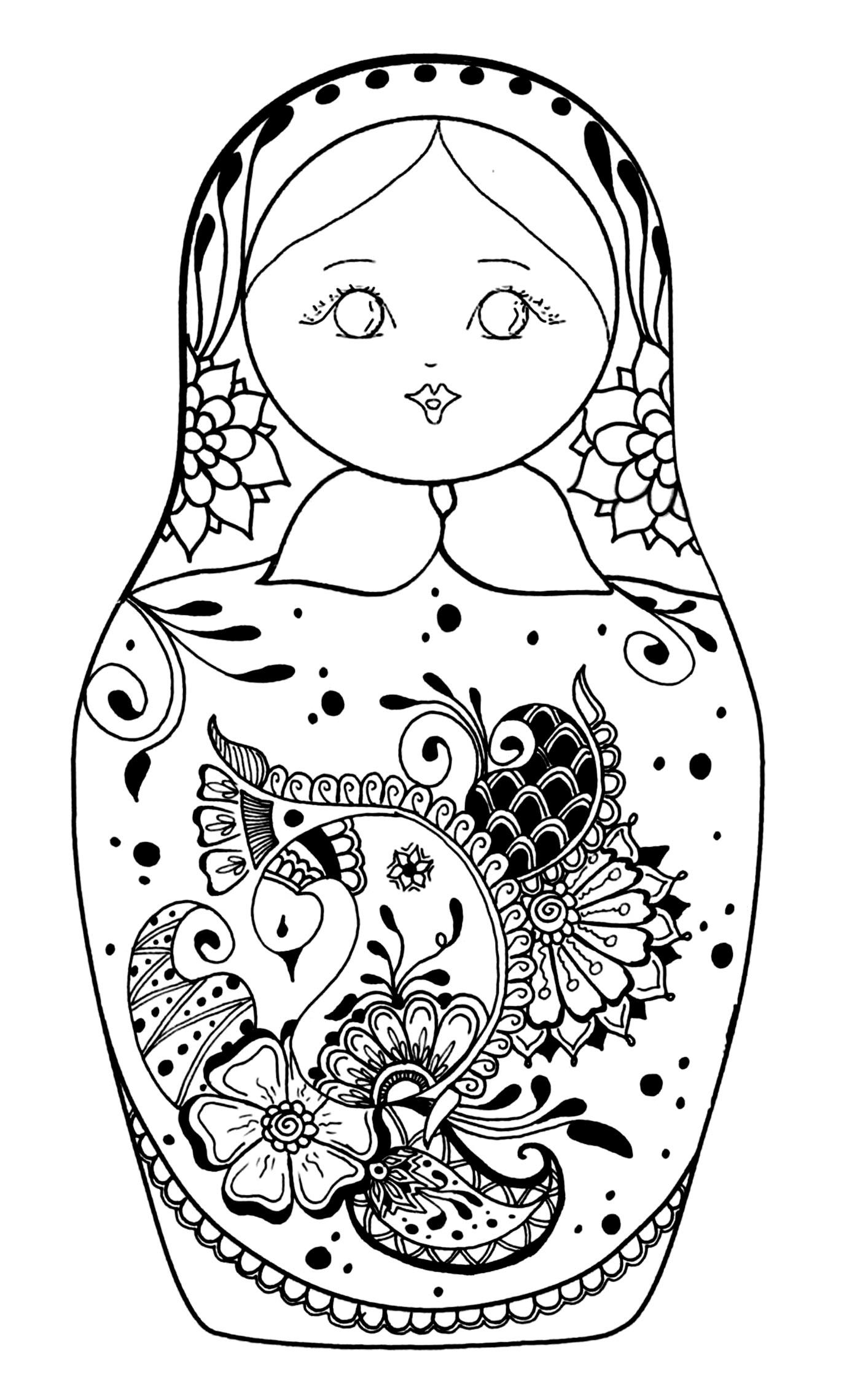 Disegni da colorare per adulti : Bambole russe - 2