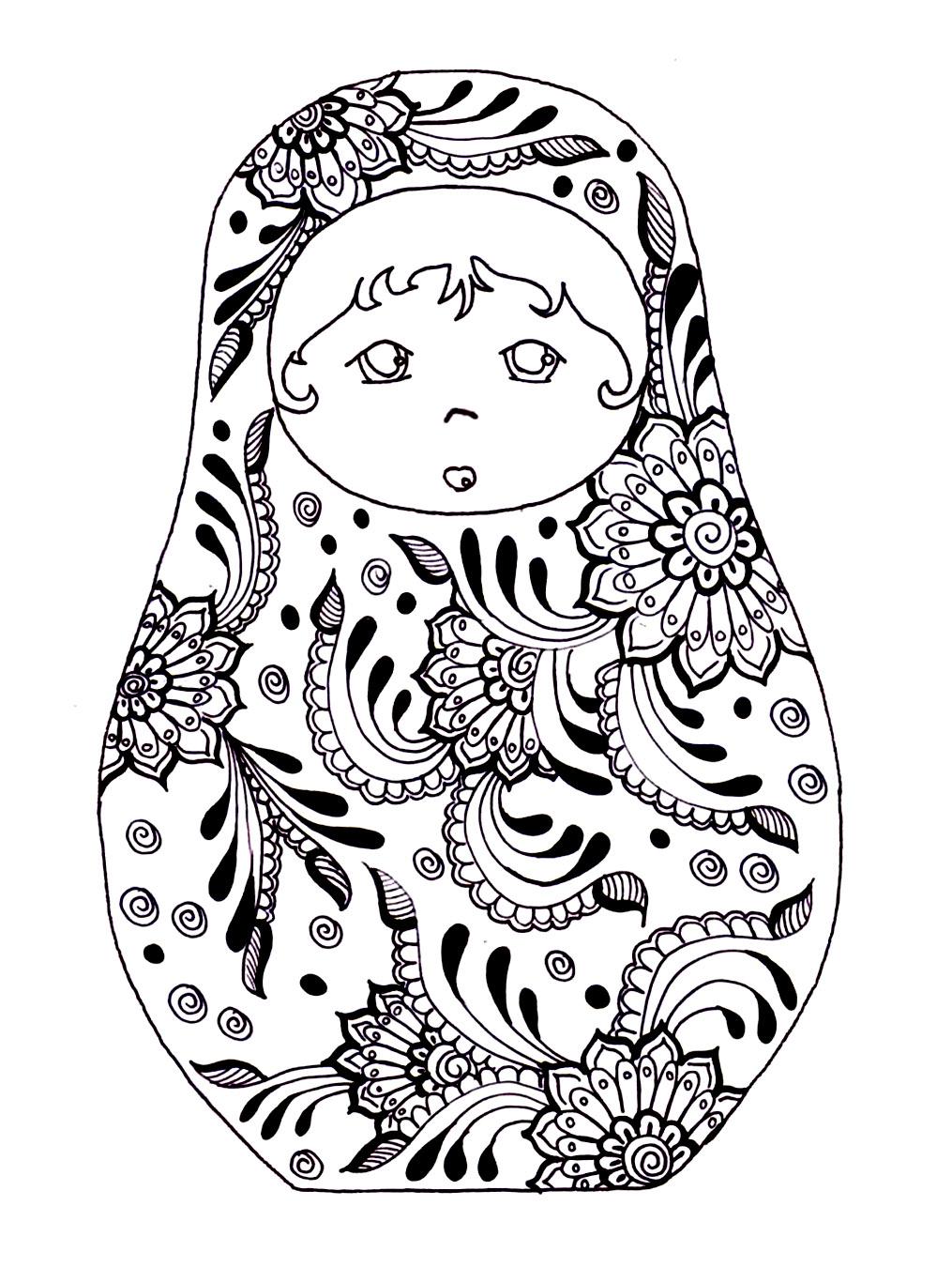 Disegni da colorare per adulti : Bambole russe - 8
