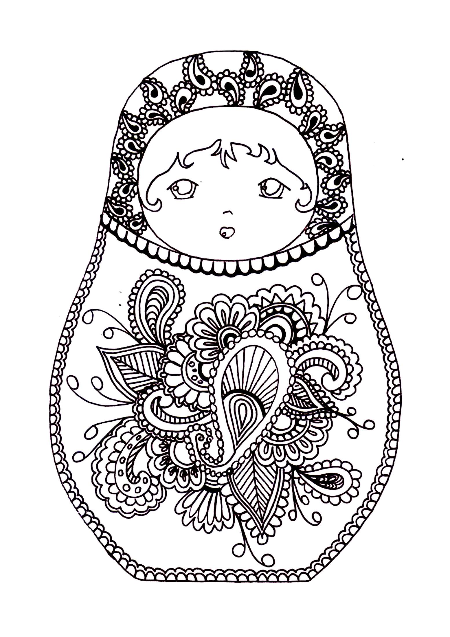 Disegni da colorare per adulti : Bambole russe - 11