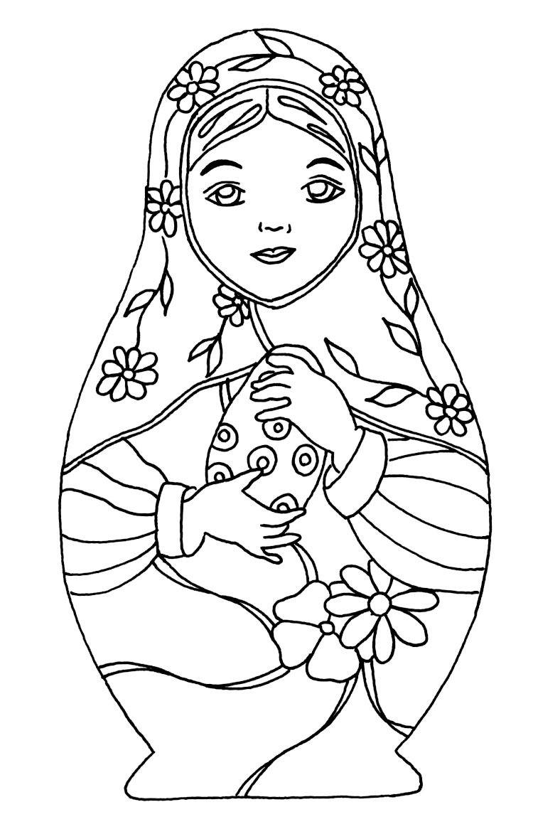 Disegni da colorare per adulti : Bambole russe - 7