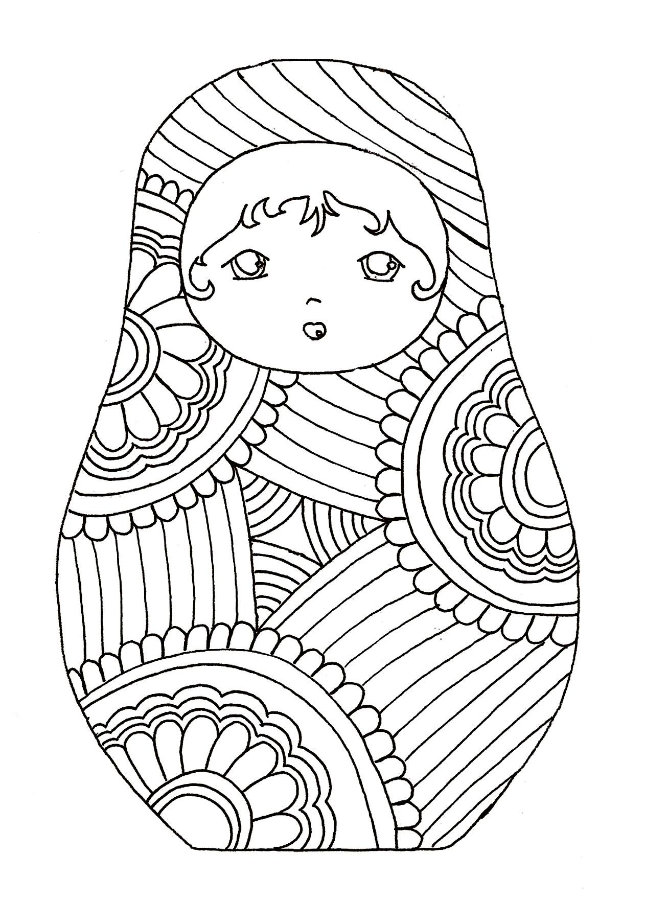 Disegni da colorare per adulti : Bambole russe - 3