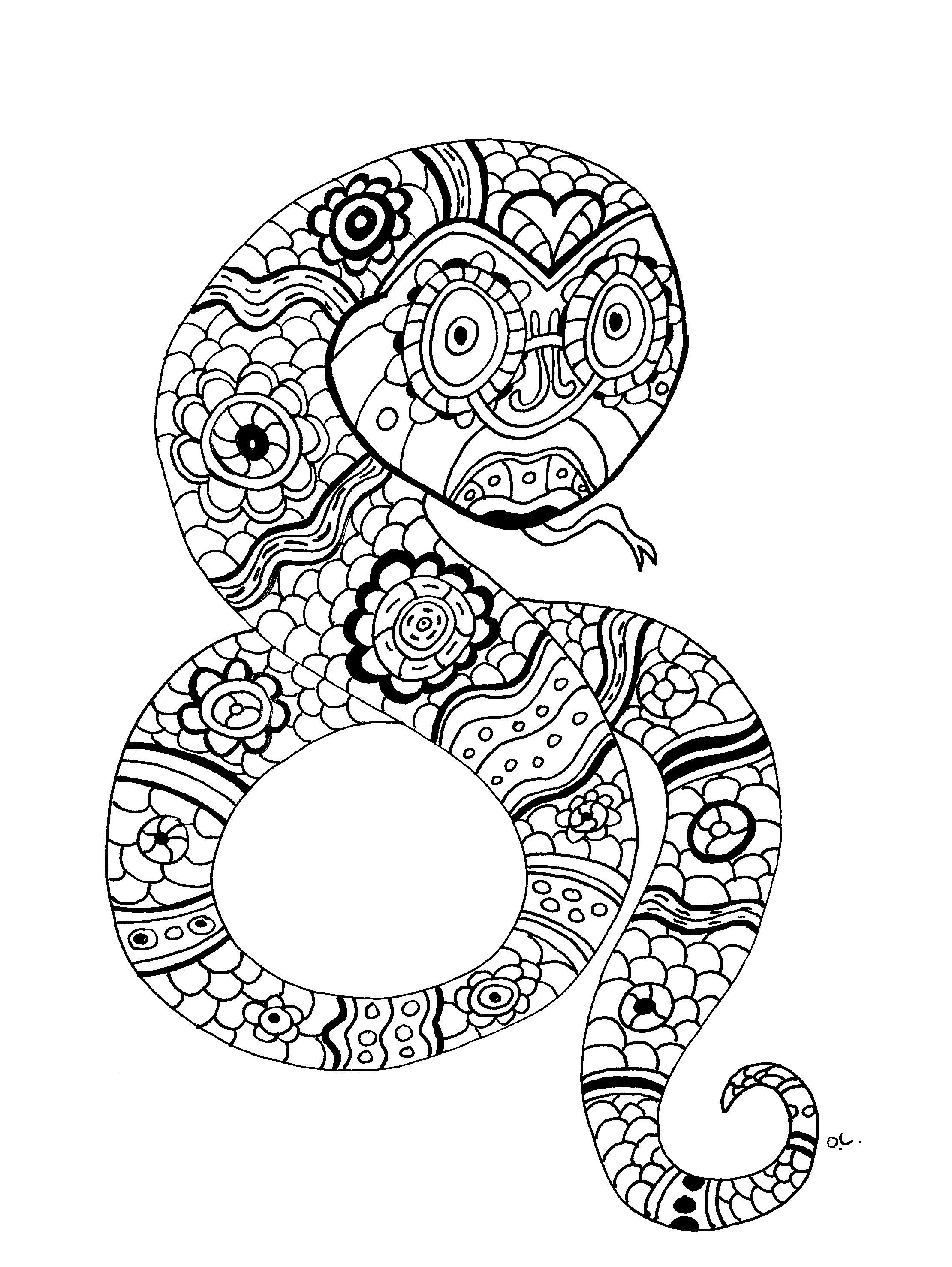 Disegni da colorare per adulti : Serpenti - 5
