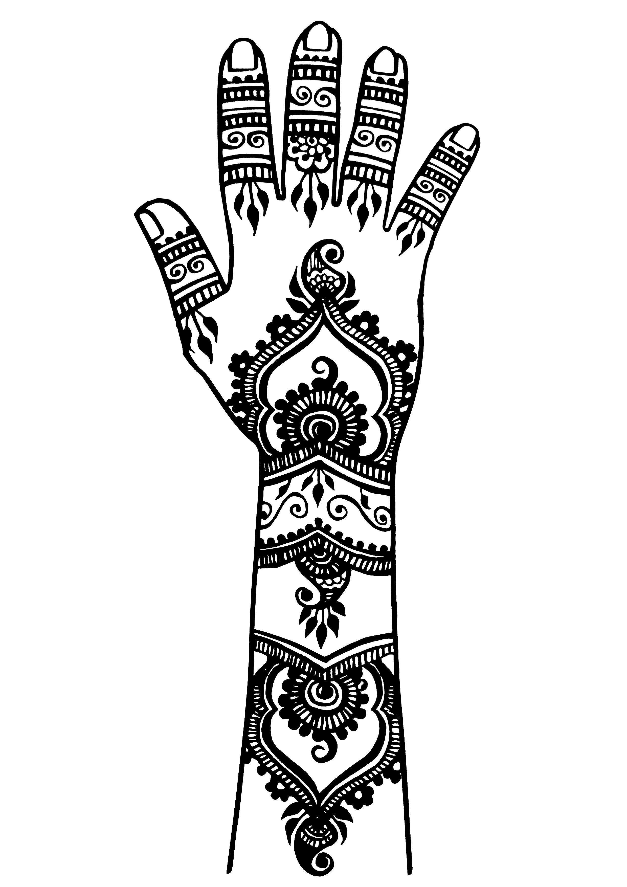 Tatuaggi 14396 tatuaggi disegni da colorare per adulti - Coloriage main de fatma ...
