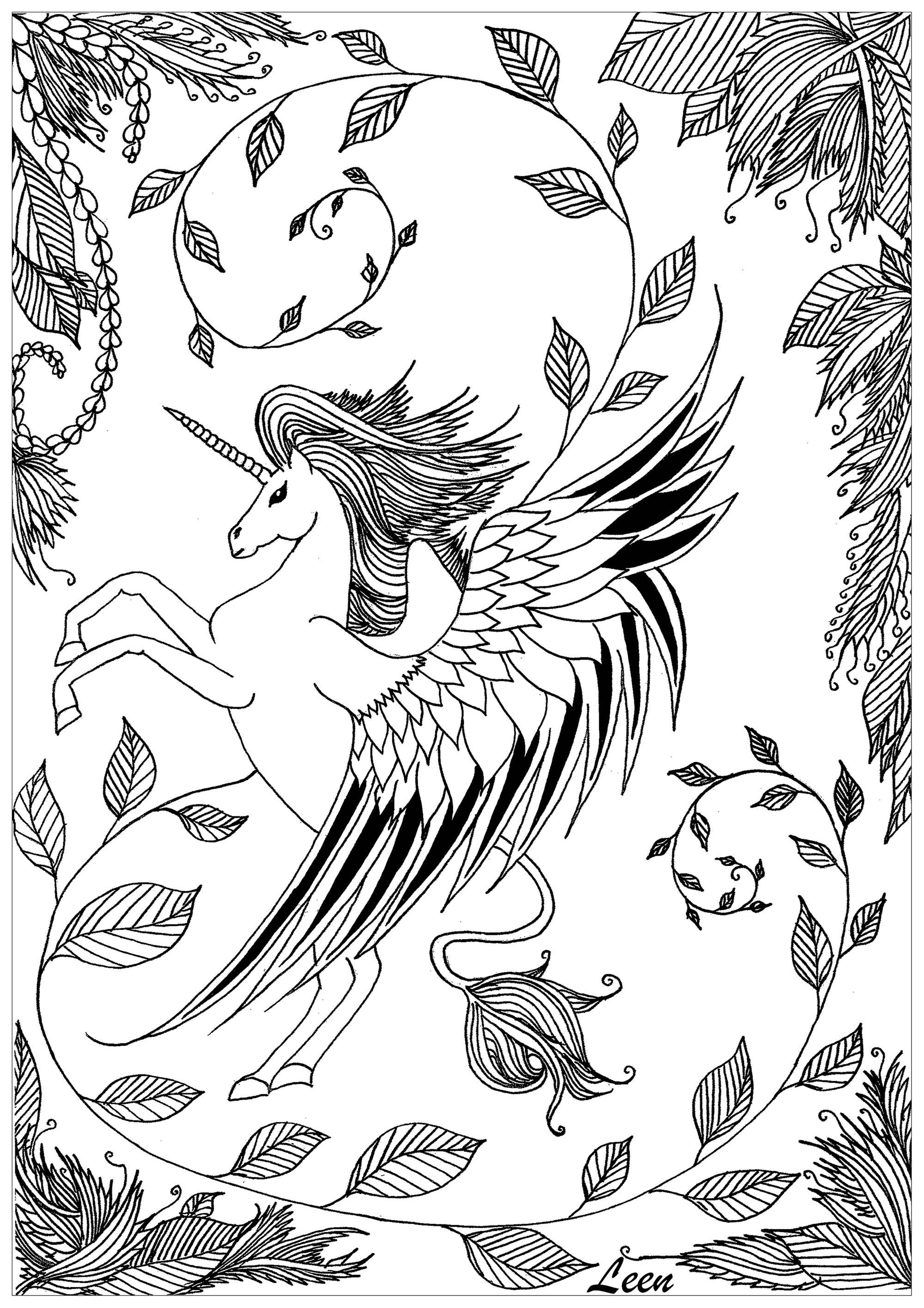 Disegni da colorare per adulti : Unicorni - 5