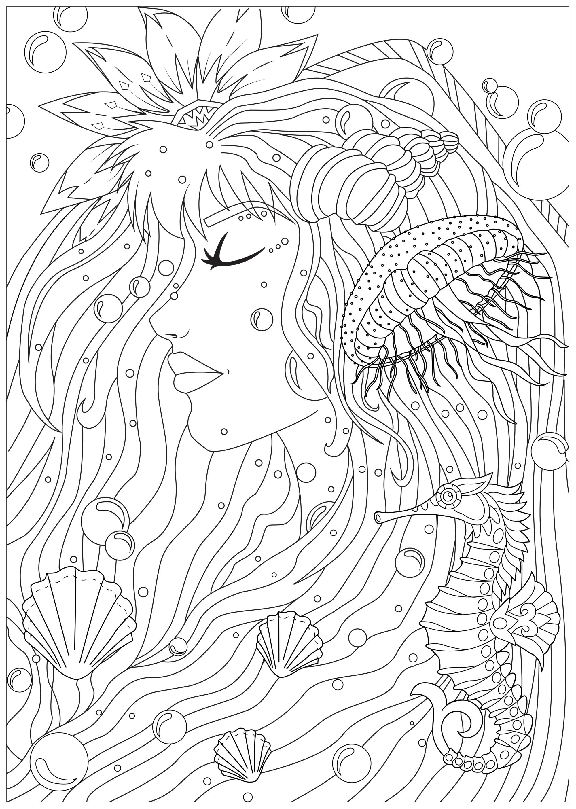 Disegni da Colorare per Adulti : Water worlds - 2