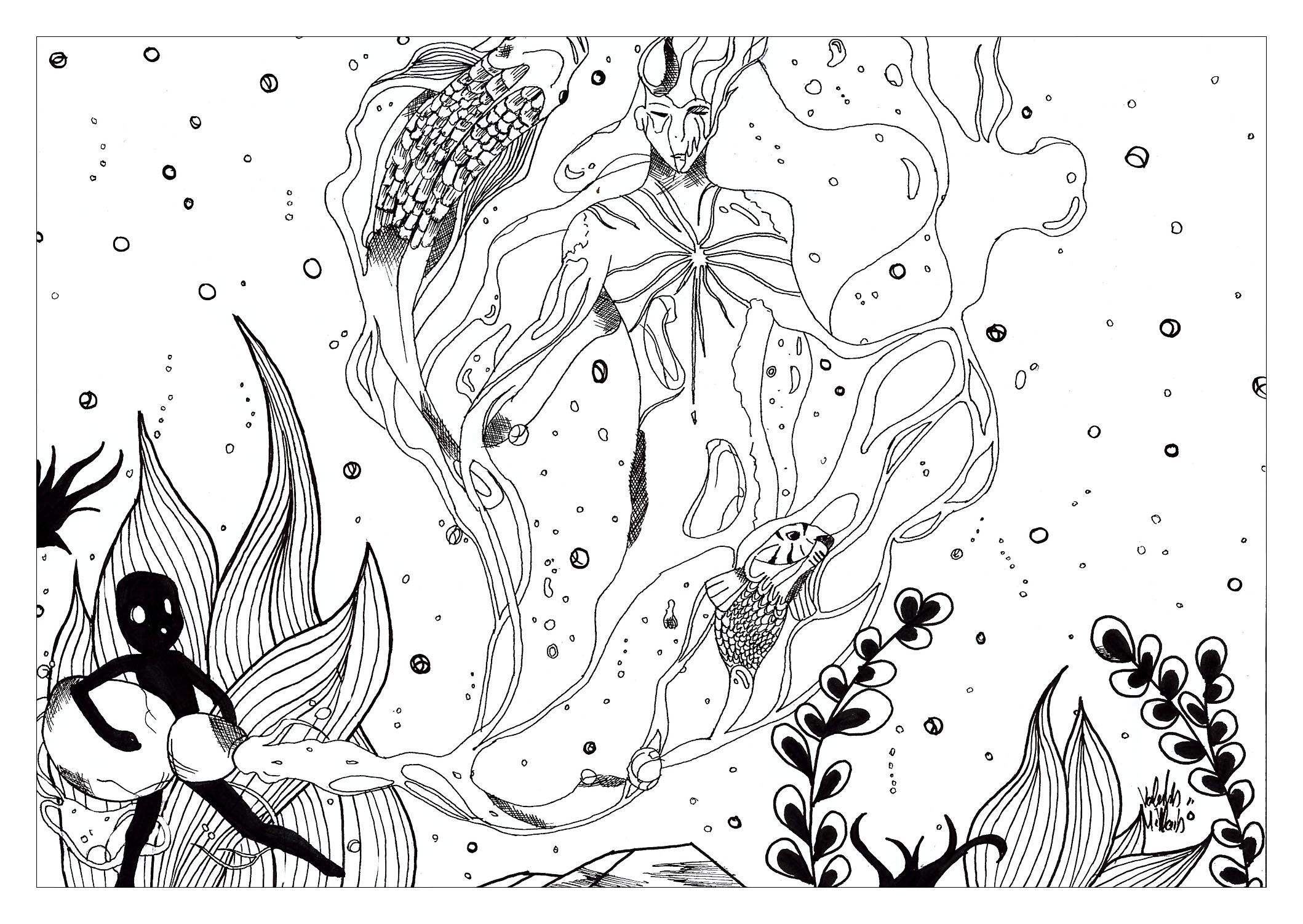 Disegni da colorare per adulti : Water worlds - 23