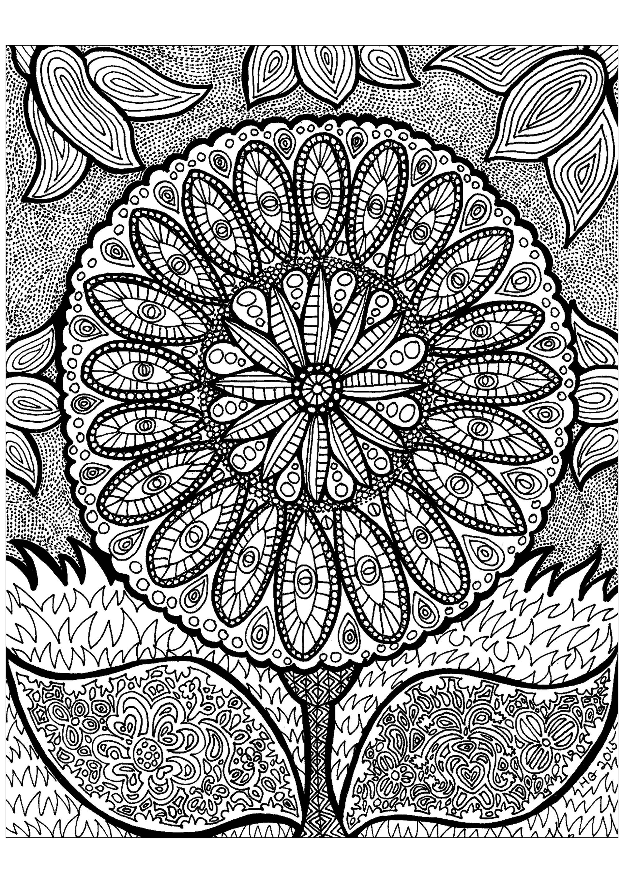 Disegni da Colorare per Adulti : Zentangle - 1