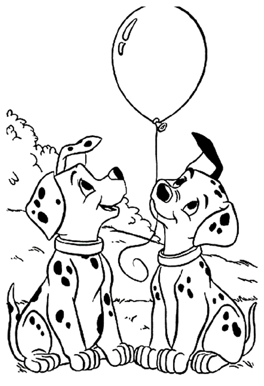 Printable 101 dalmatians coloring page to print and color for free