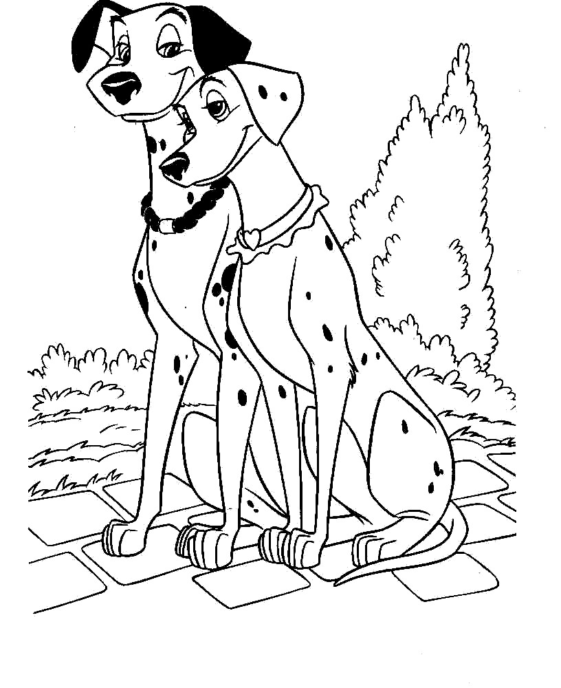 Simple 101 Dalmatians coloring page for children