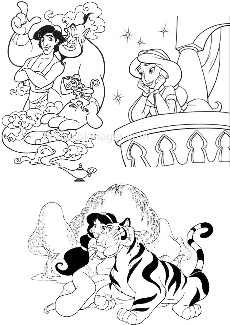 Cute free Aladdin (and Jasmine) coloring page to download