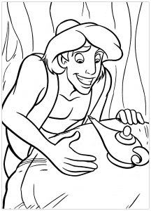 Coloring page aladdin (and jasmine) to print for free