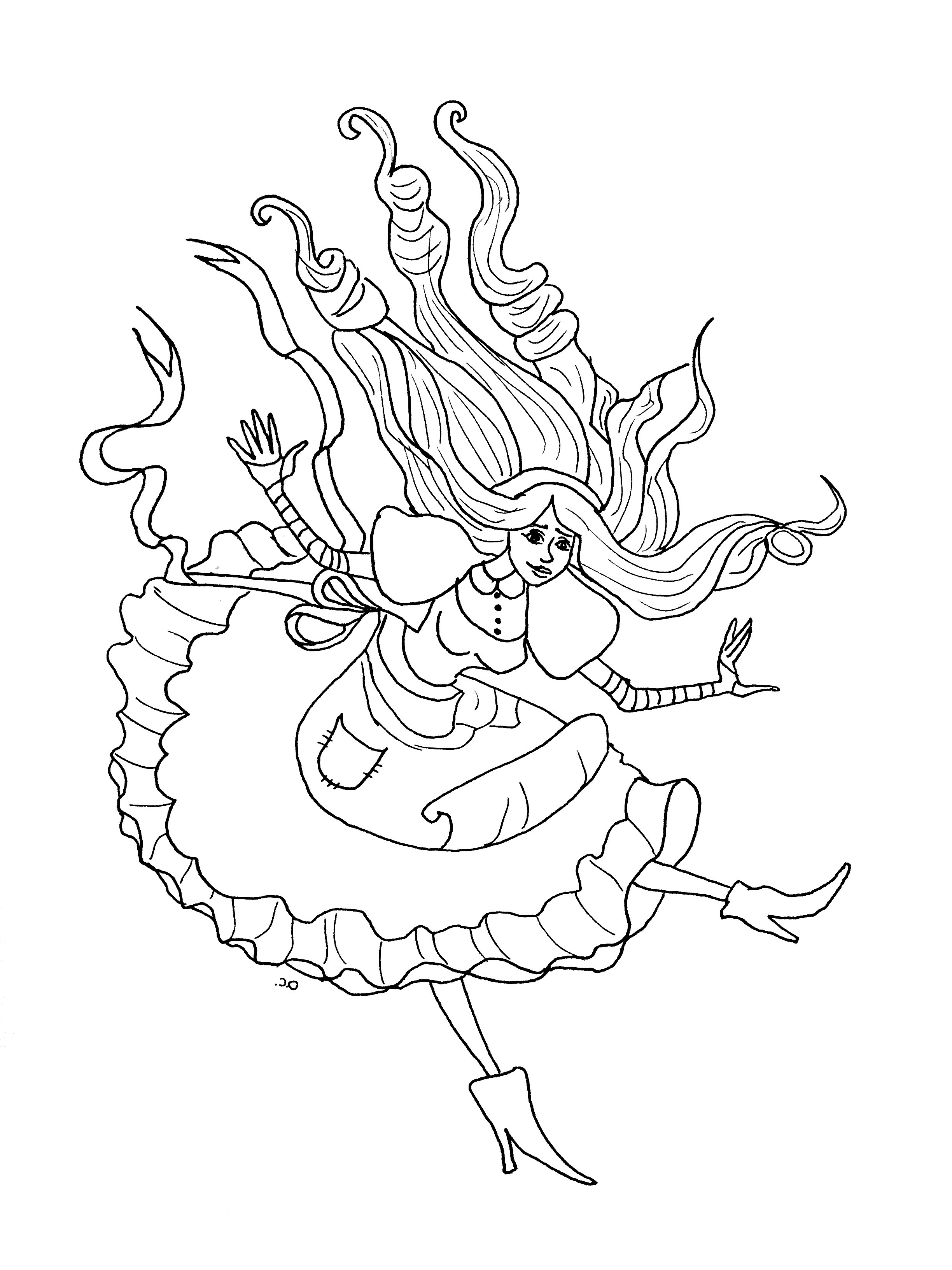 Incredible Alice coloring page to print and color for free