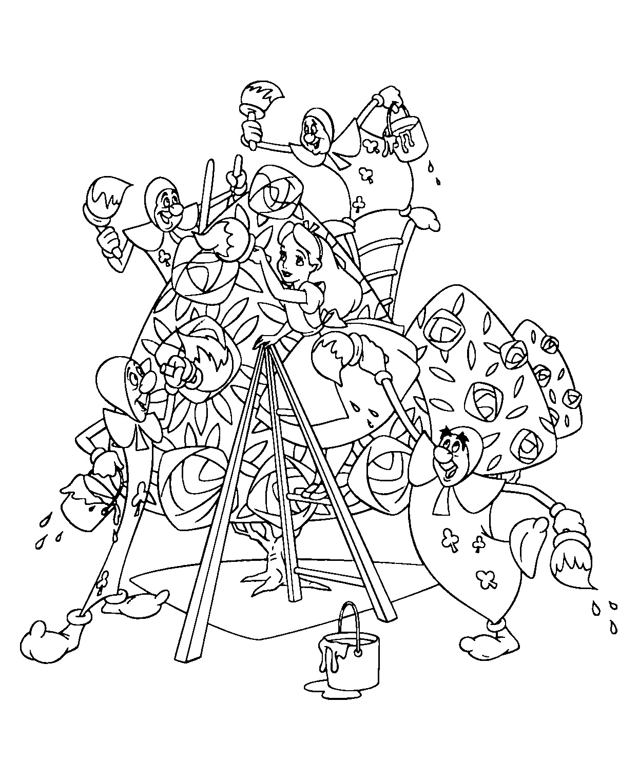 Free Alice coloring page to download, for children