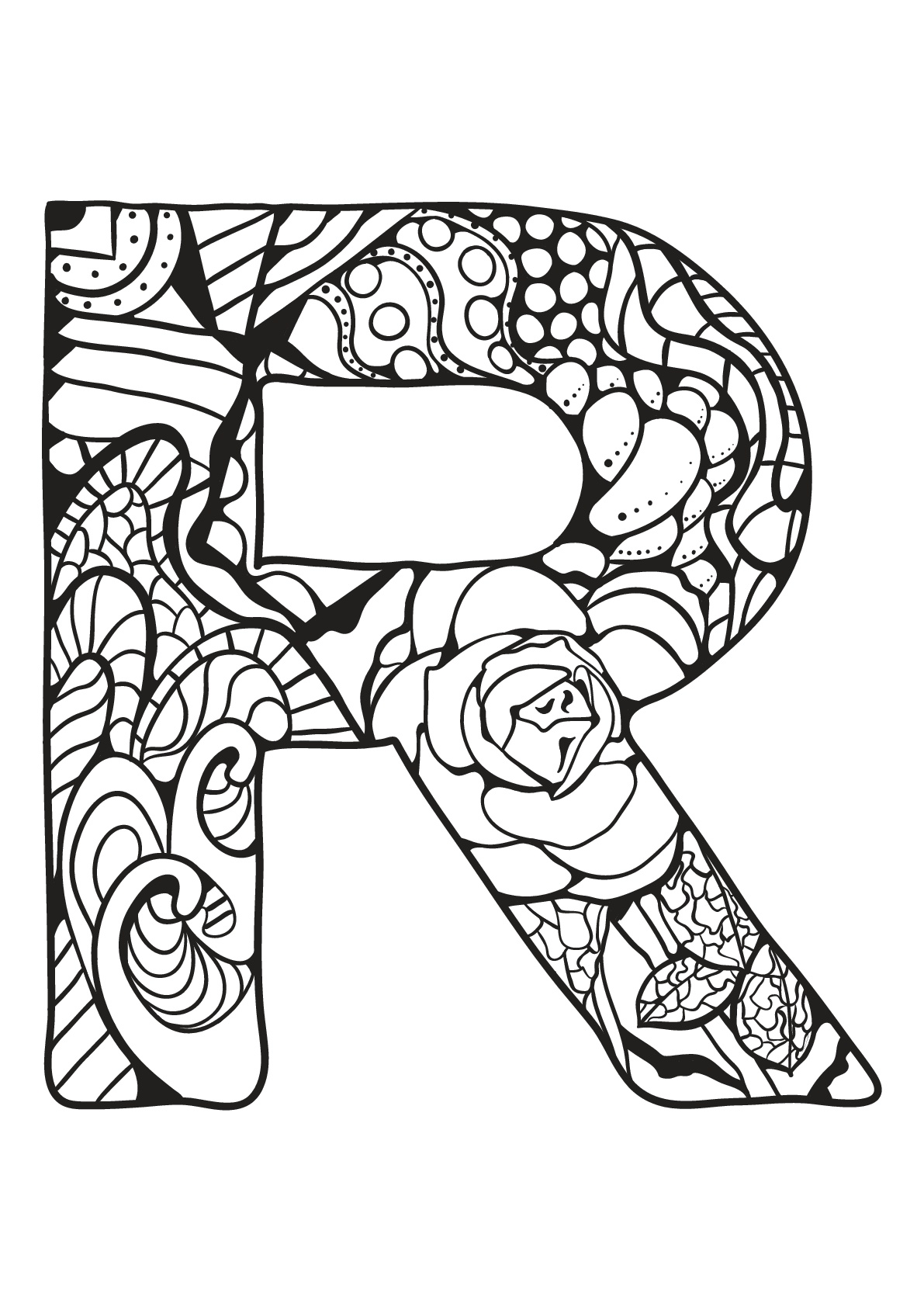 Alphabet To Color For Kids R Alphabet Kids Coloring Pages