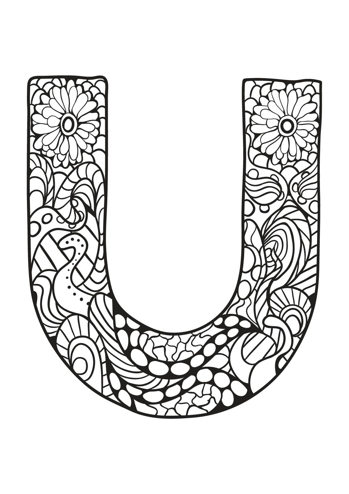 Beautiful Alphabet coloring page to print and color : U
