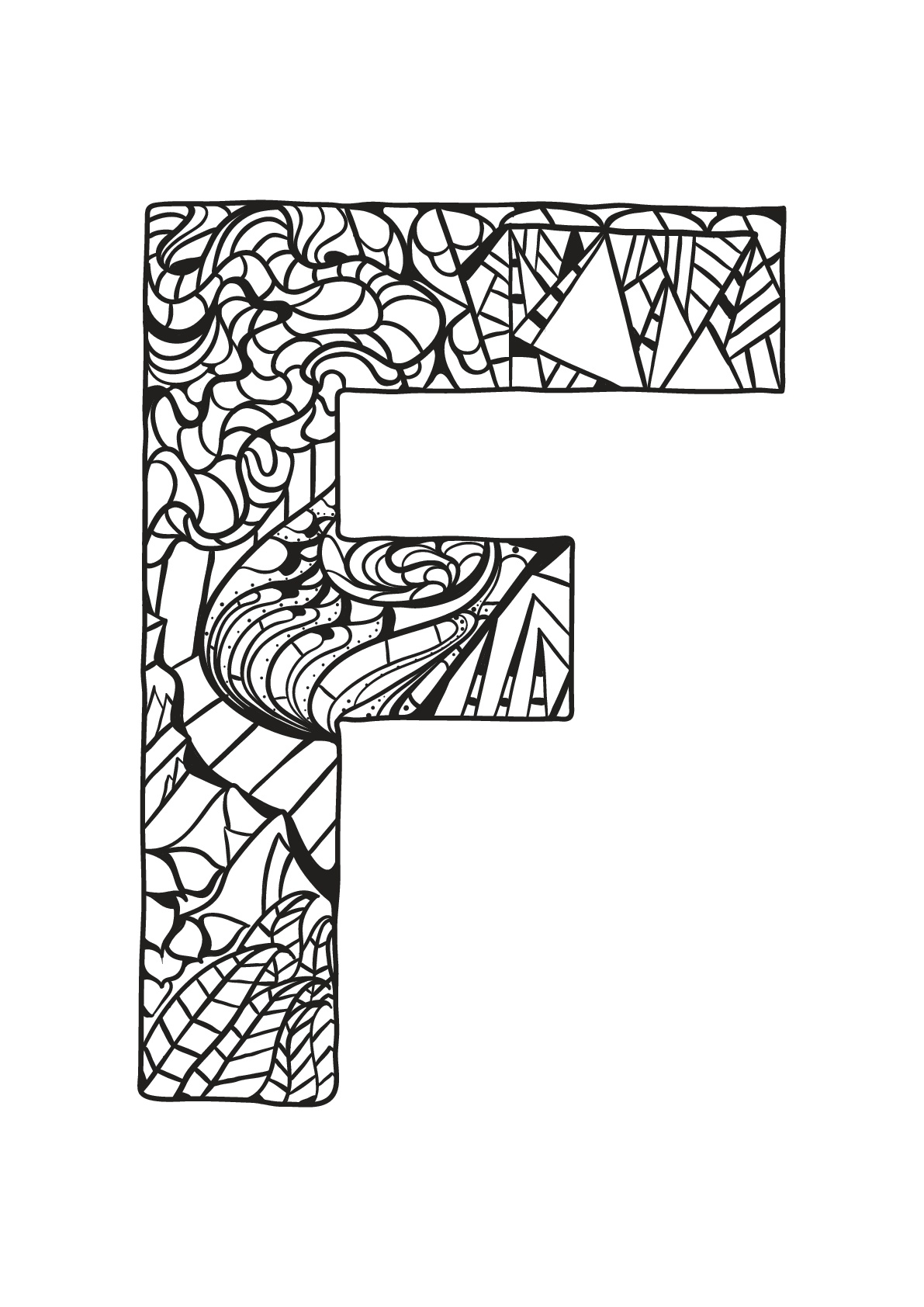 Alphabet coloring page with few details for kids : F