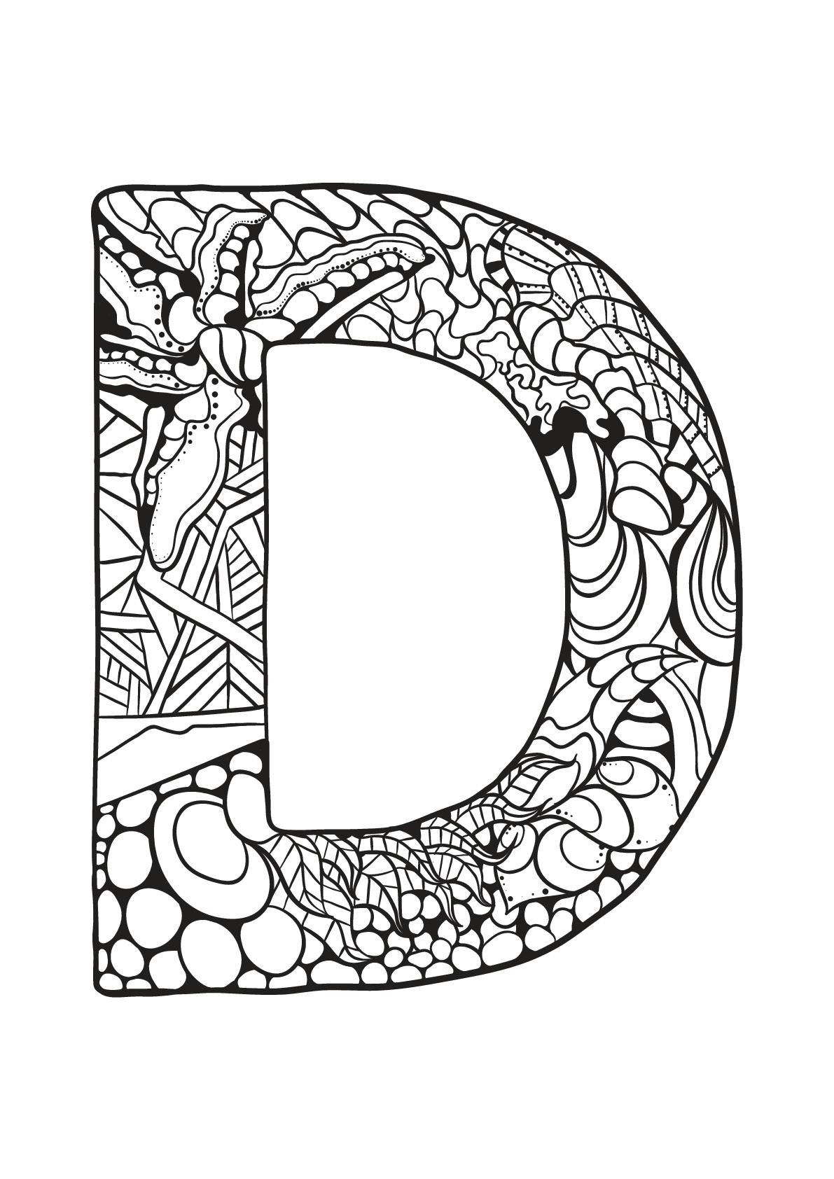 Alphabet to print : D - Alphabet Kids Coloring Pages