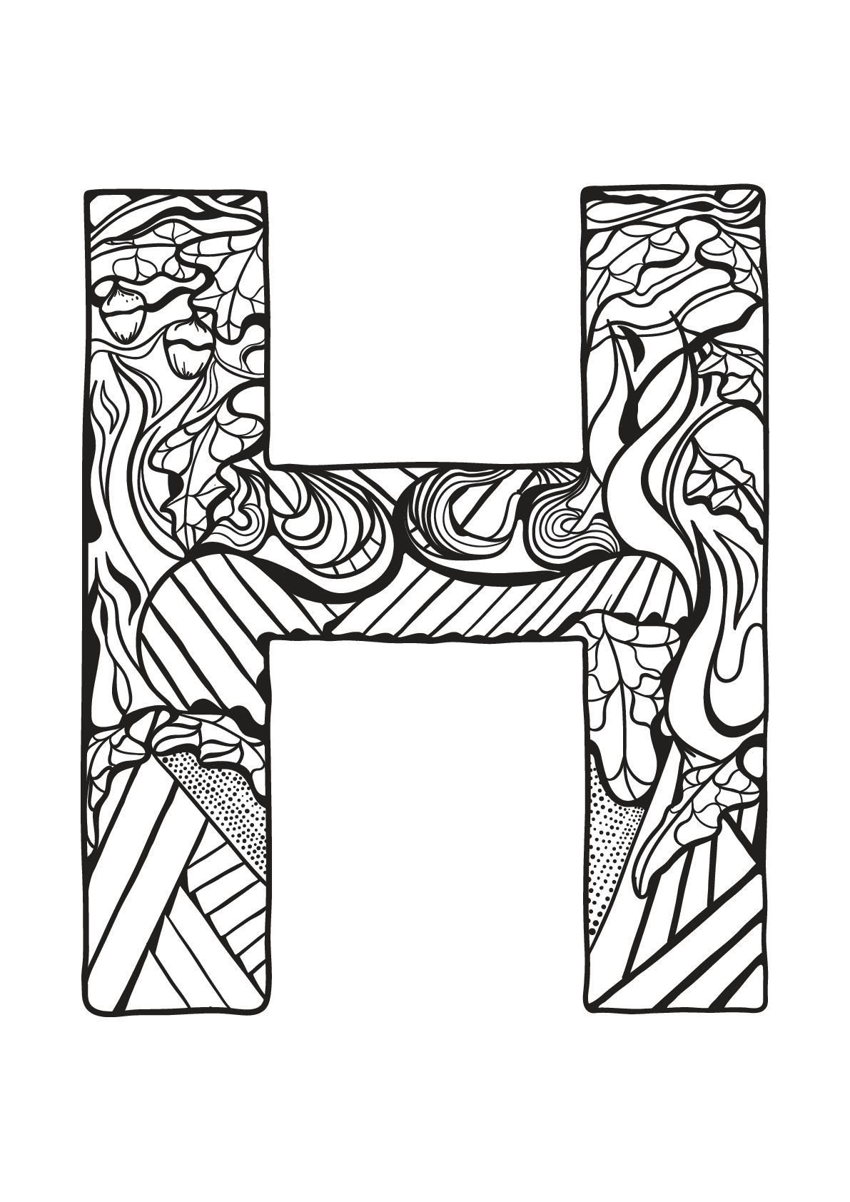 Alphabet free to color for children : H - Alphabet Kids Coloring Pages