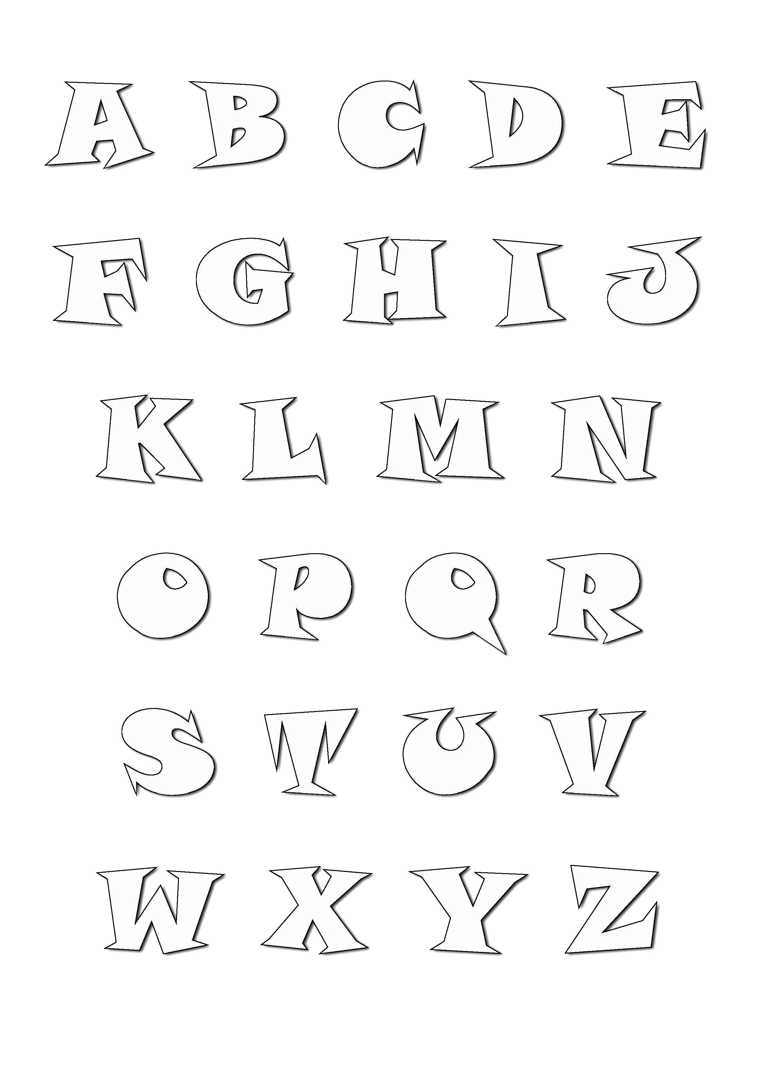 Alphabet coloring page to print and color for free : From A to Z (Cartoon font)