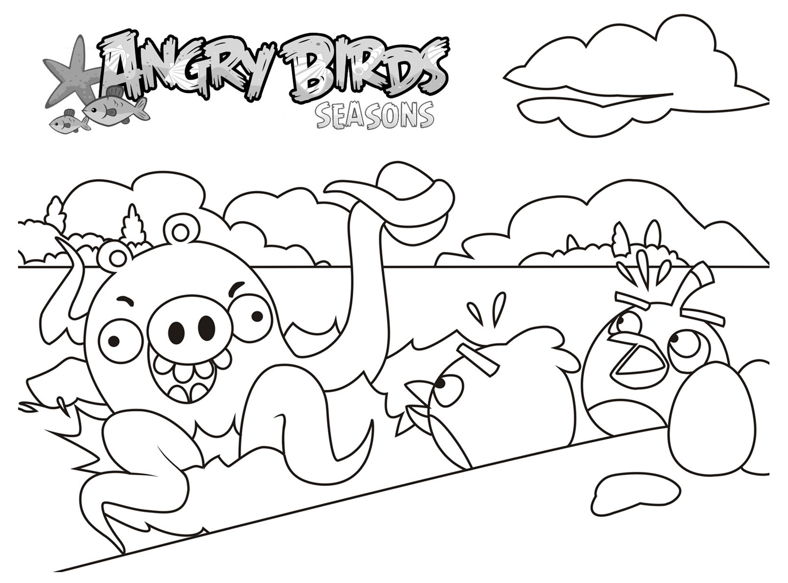 Free Angry Birds Coloring Page To Print And Color For Kids