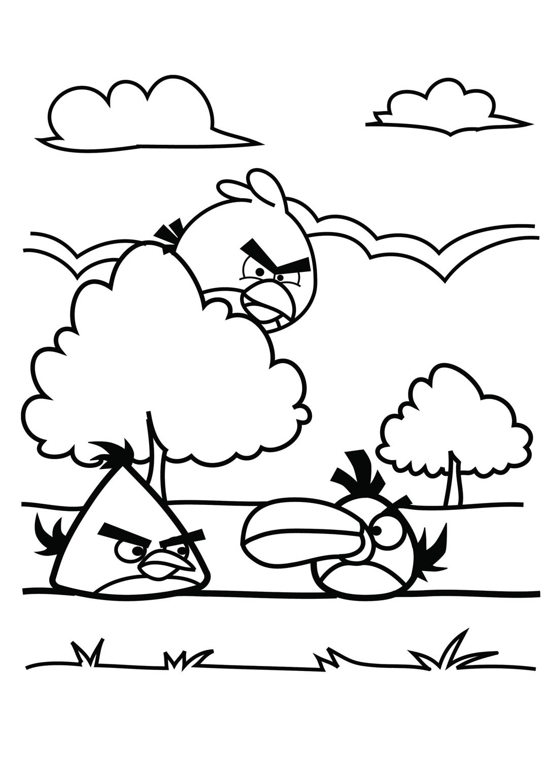 Simple Free Angry Birds Coloring Page To Print And Color