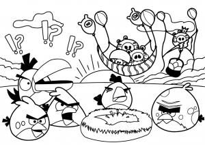 Coloring page angry birds for children