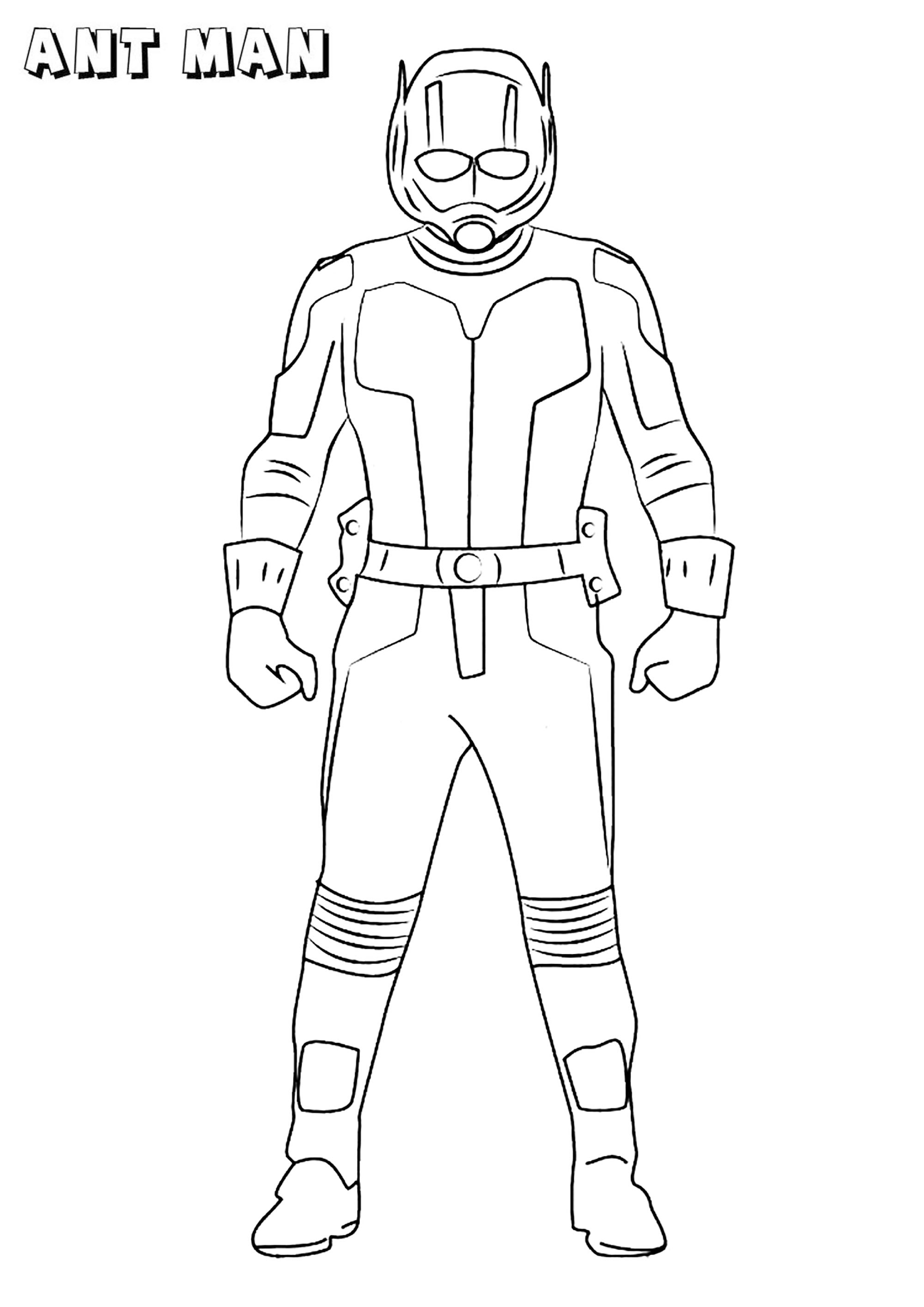 Easy free Ant-Man coloring page to download