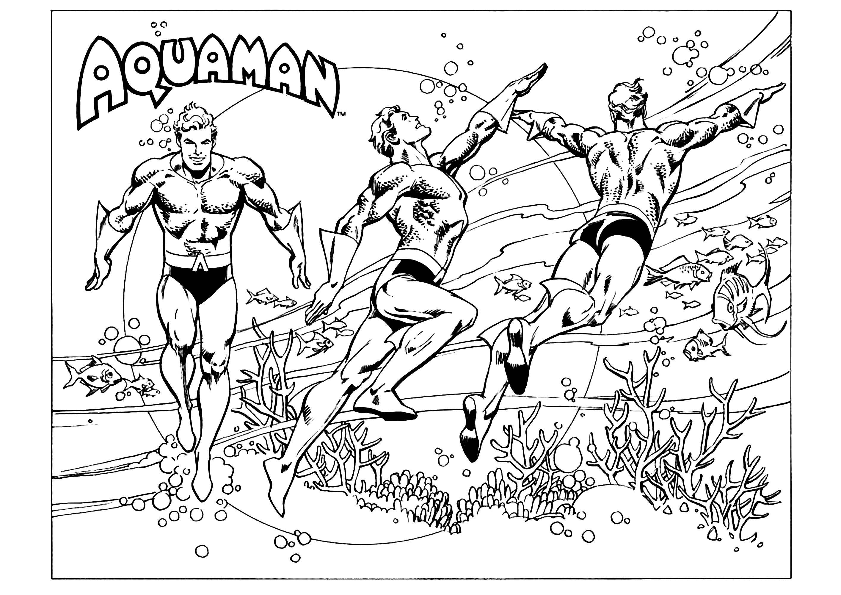 Aquaman coloring page to download for free