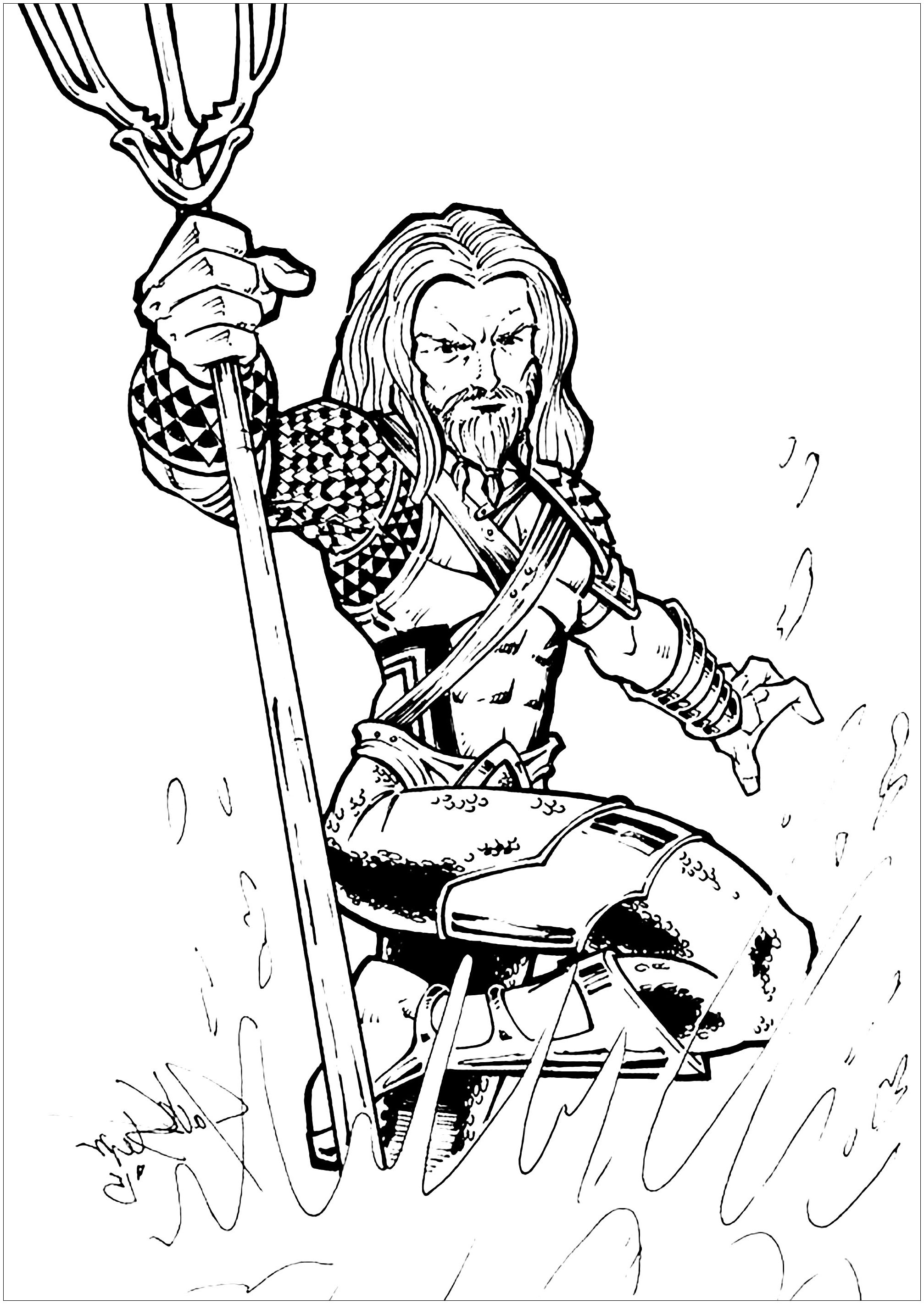 Free Aquaman coloring page to print and color