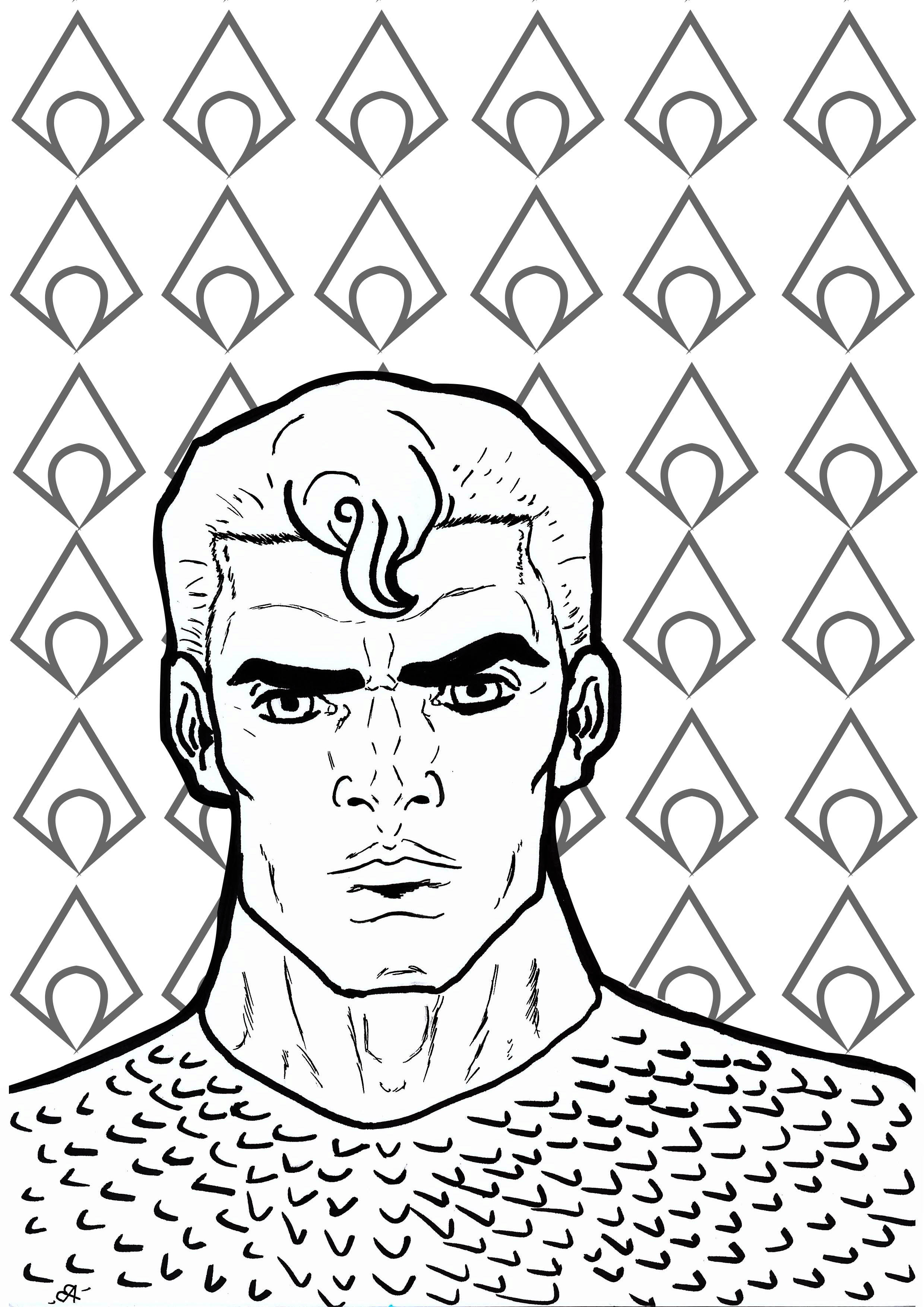 Simple Aquaman coloring page