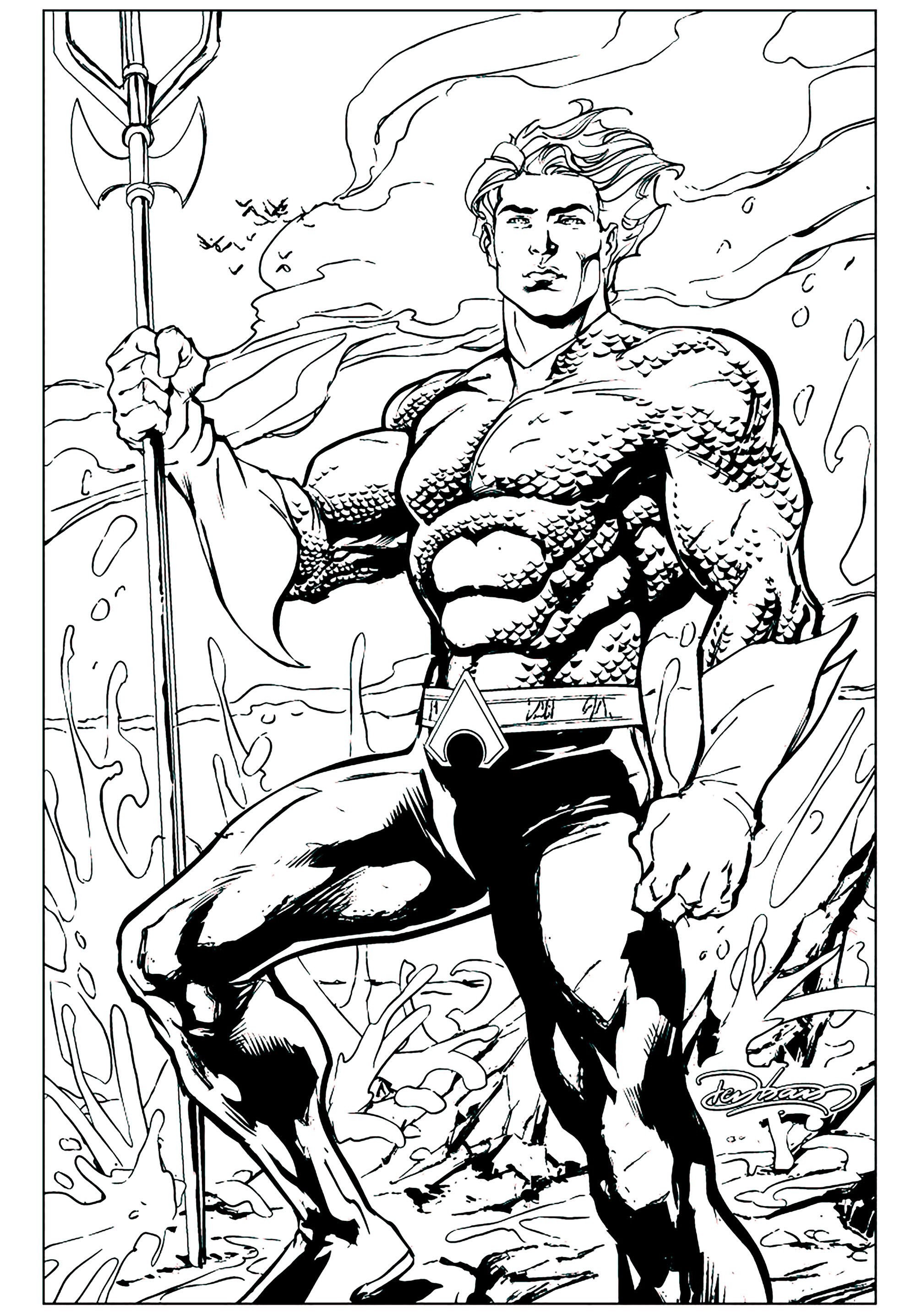 Aquaman coloring page with few details for kids