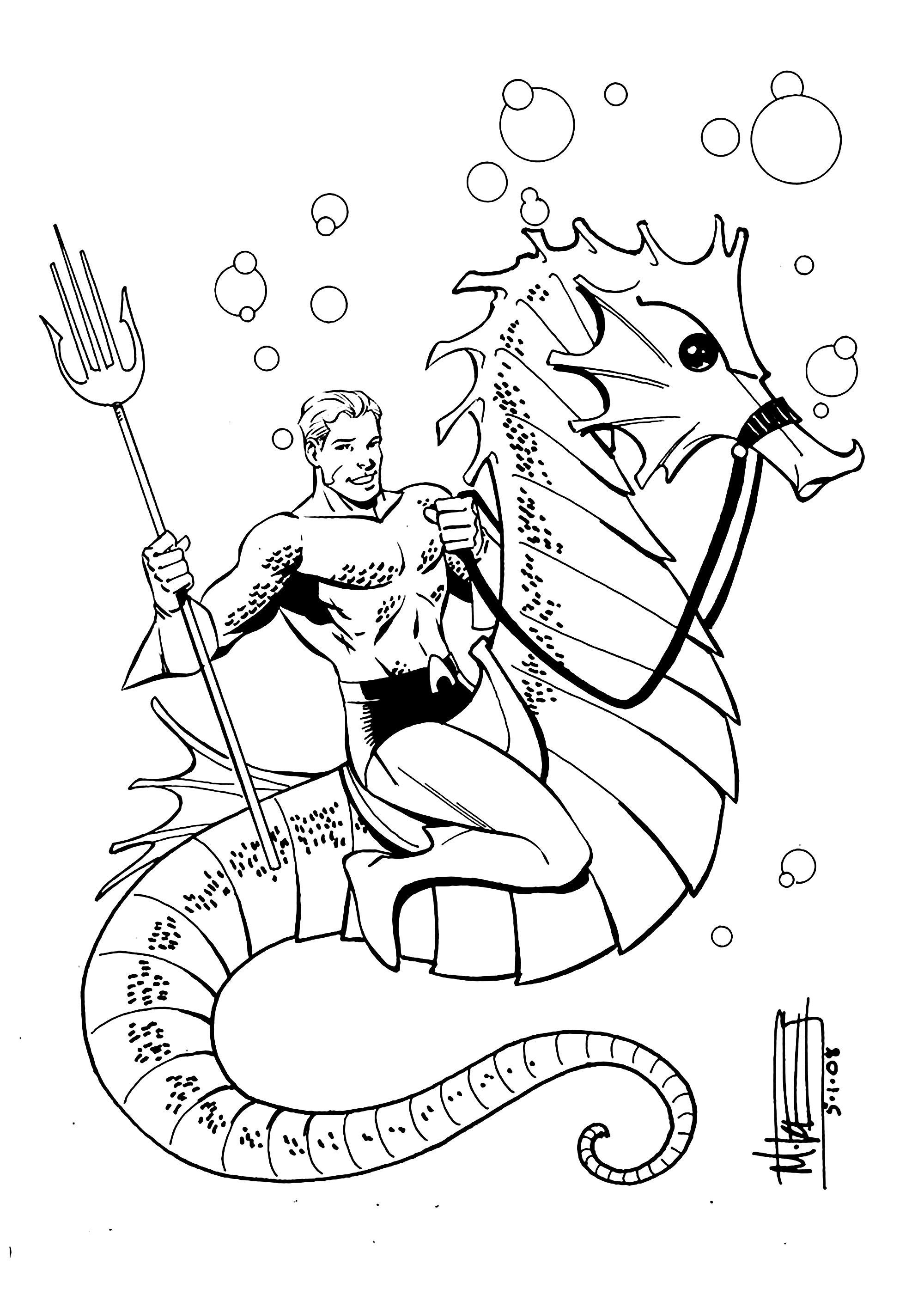 Free Aquaman coloring page to download, for children