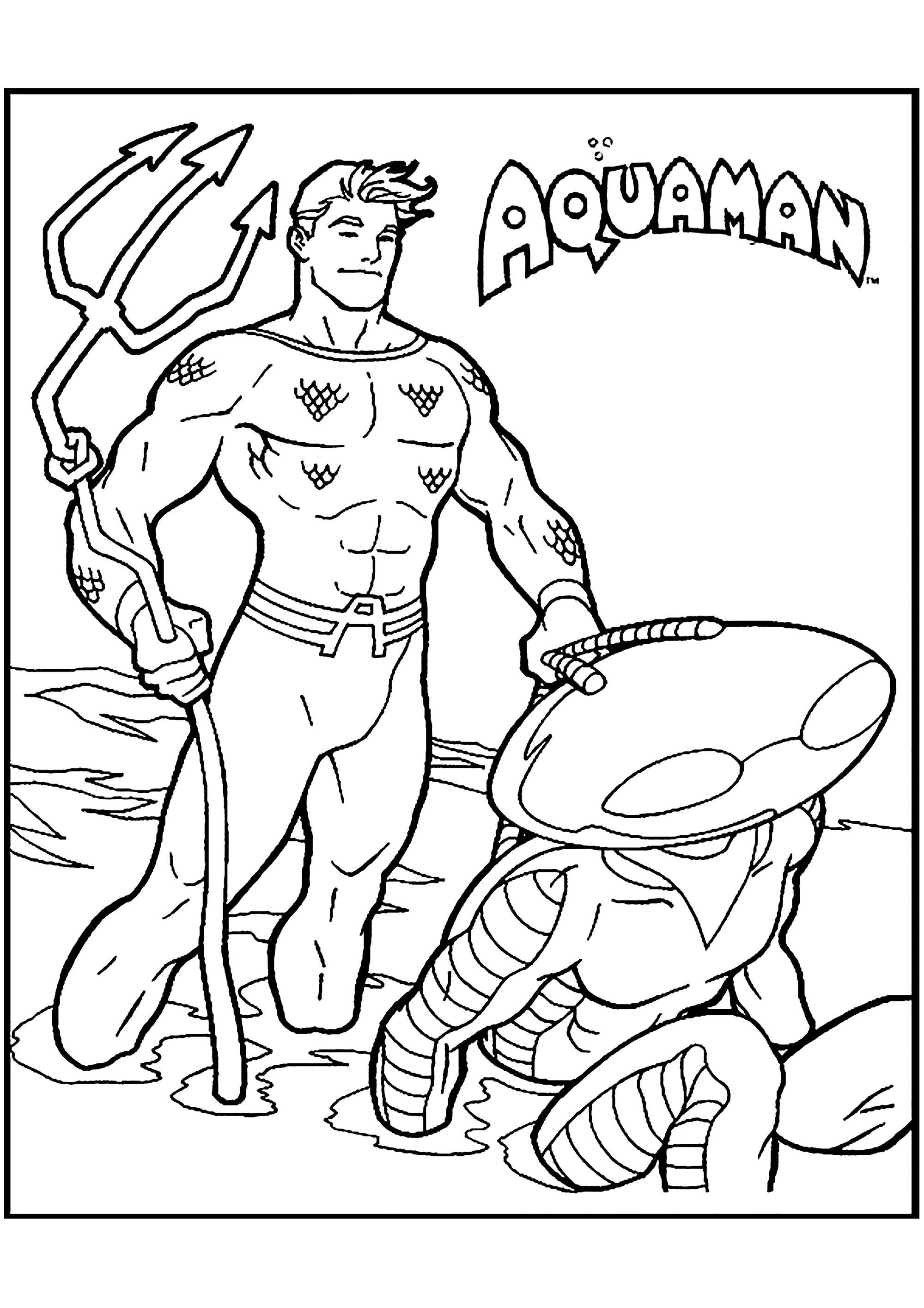Aquaman coloring page to print and color