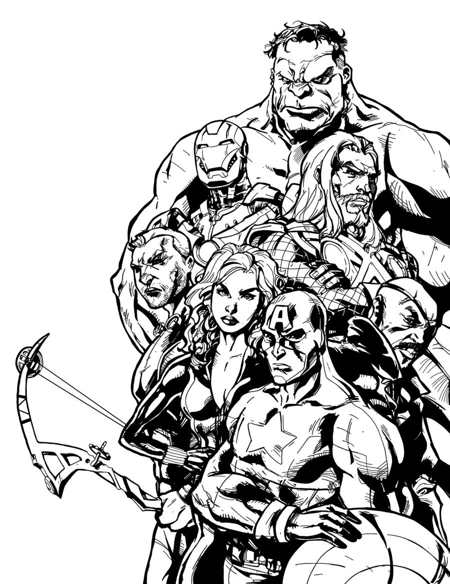 Avengers coloring page with few details for kids