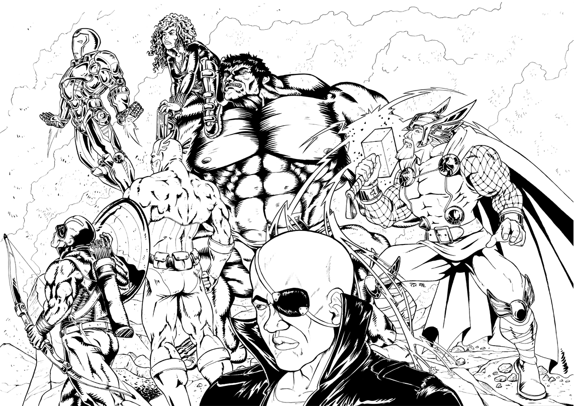 Funny Avengers coloring page for children
