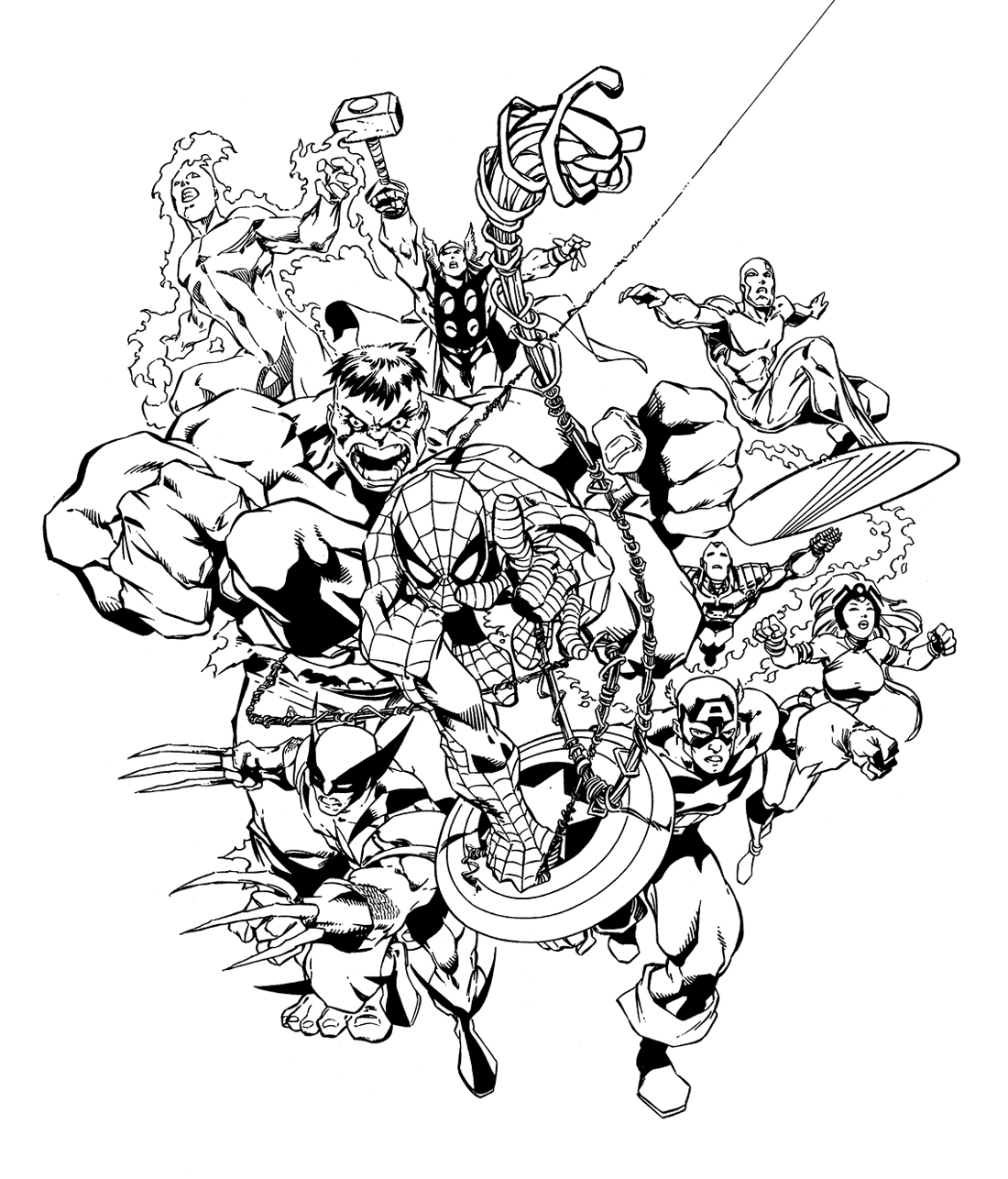 Simple Avengers coloring page to download for free