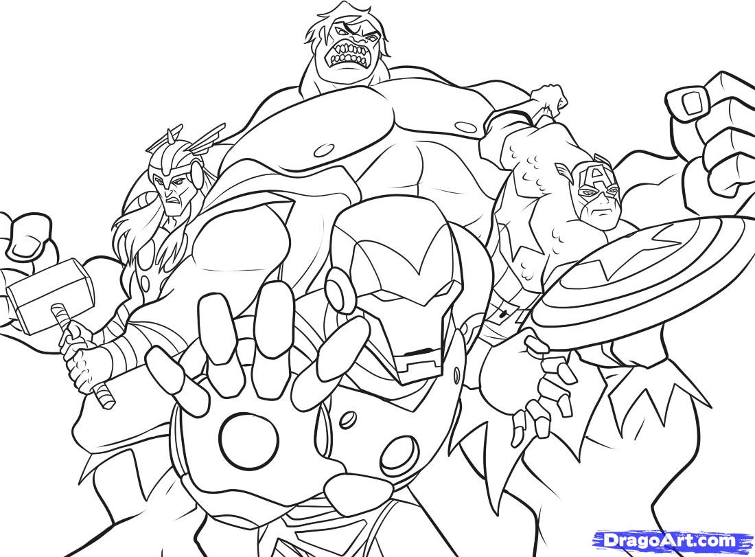 Simple Avengers coloring page for kids
