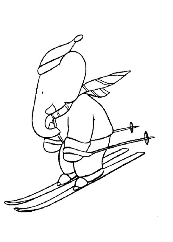 Easy free Babar coloring page to download