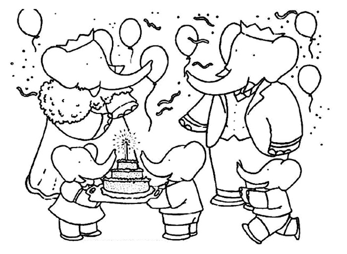 Funny free Babar coloring page to print and color