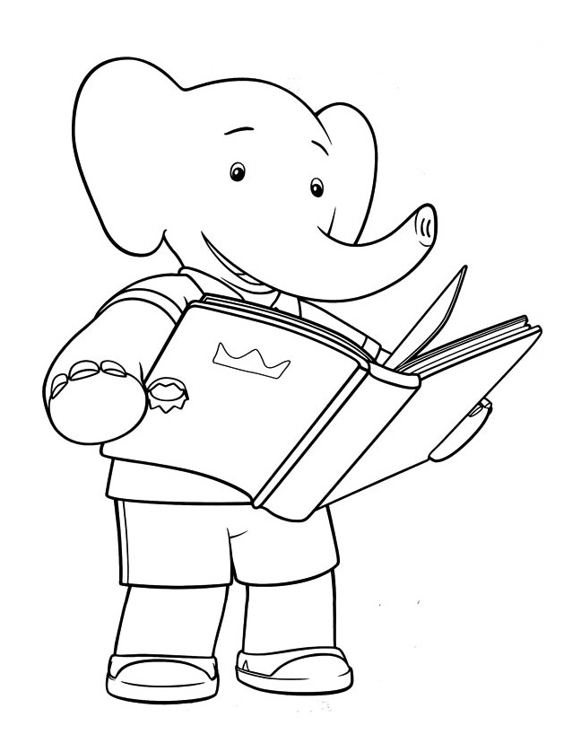 Simple Babar coloring page for children