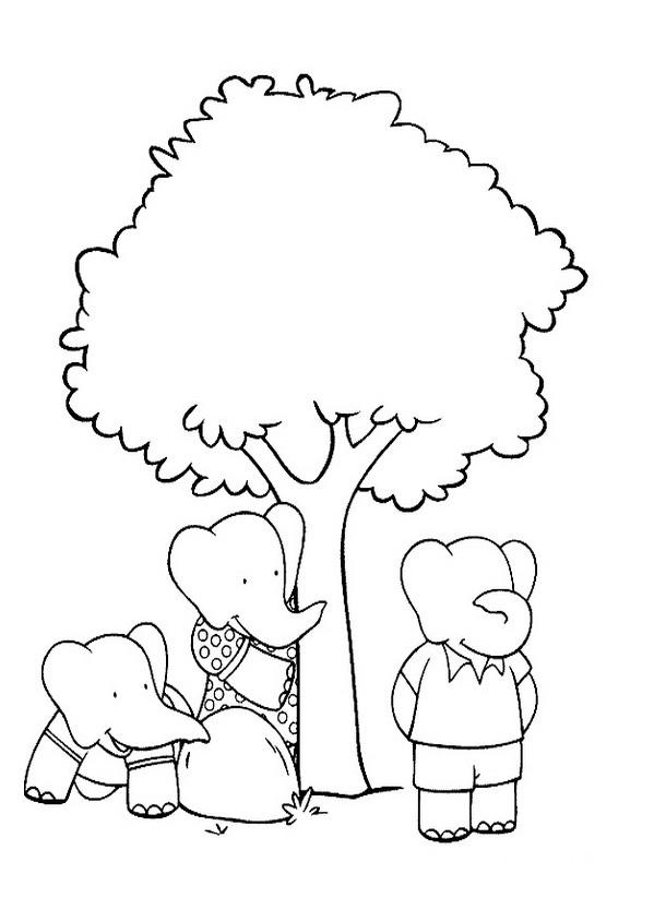 Babar coloring page to download for free