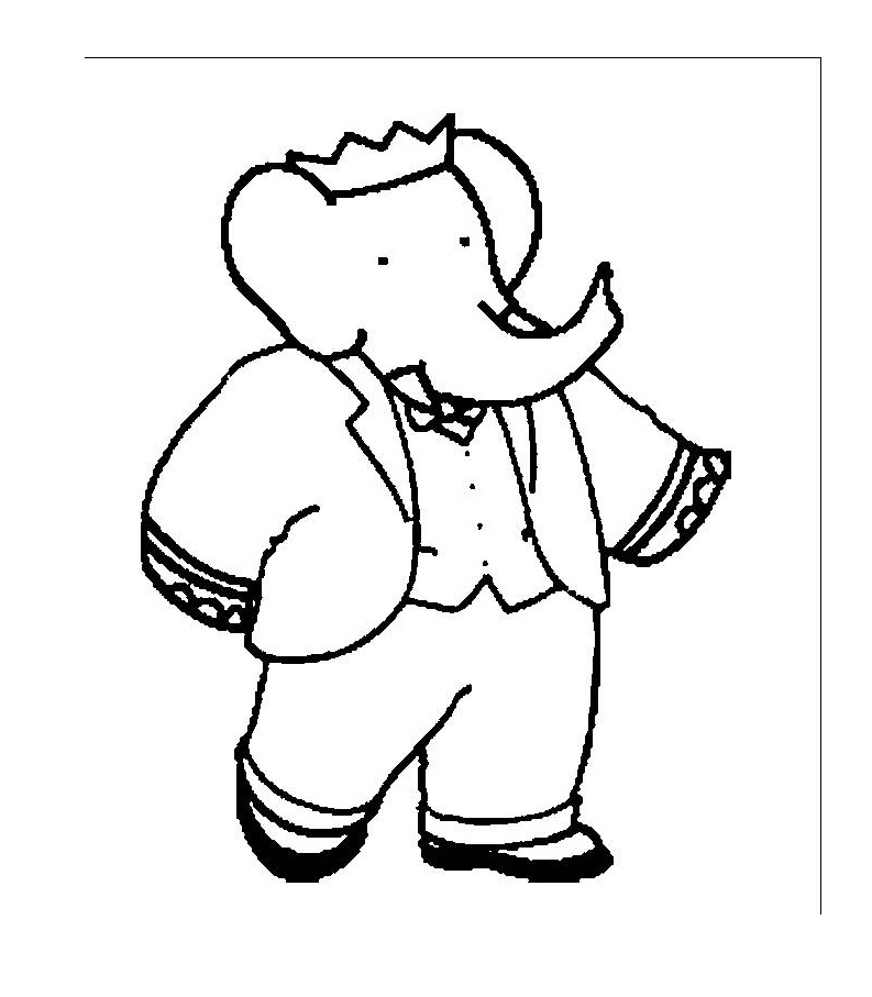 Cute free Babar coloring page to download