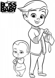 Coloring page baby boss to color for kids