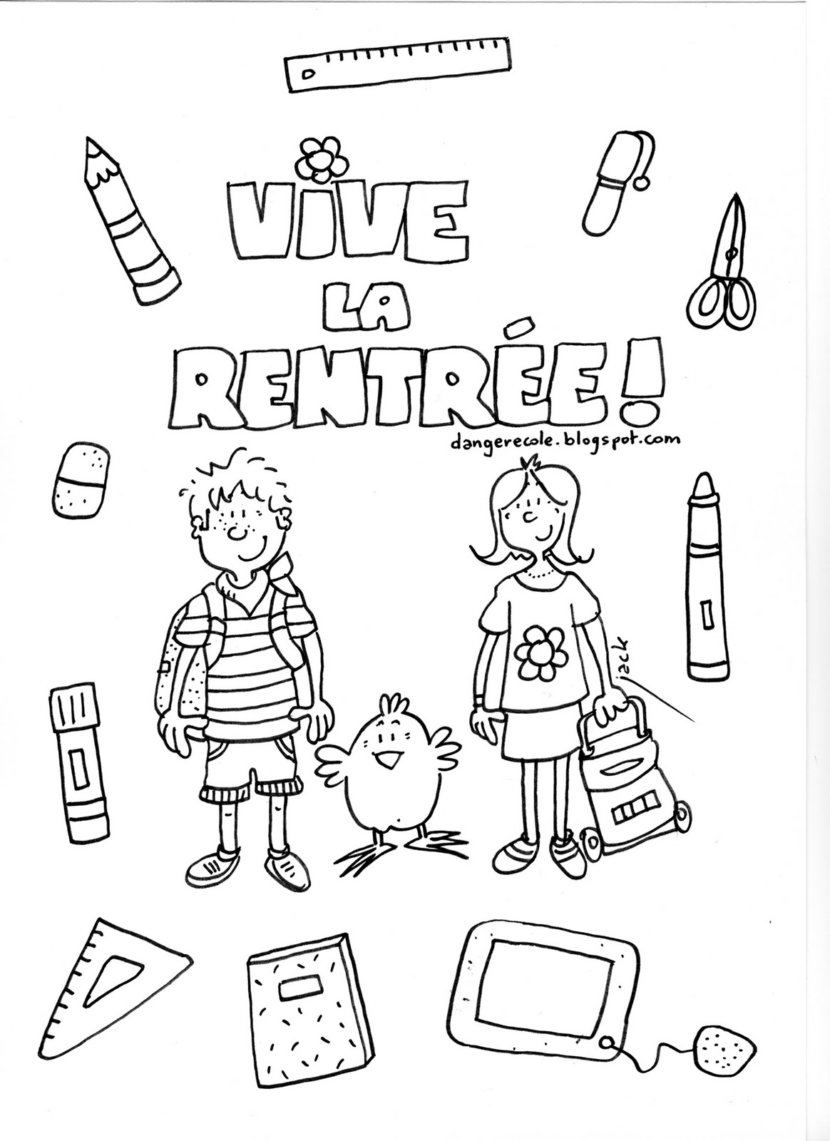 Back to school coloring page with few details for kids